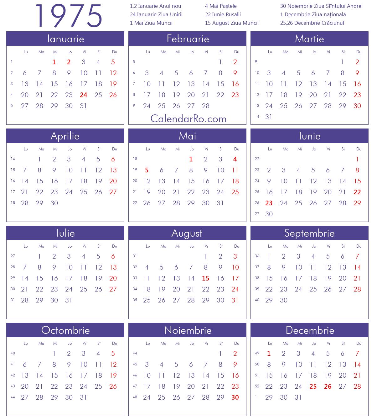 Calendar 2019 Romanesc Printabil
