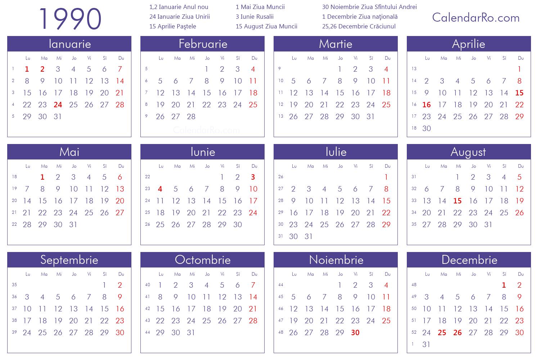 1990 Calendar.Calendar 1990