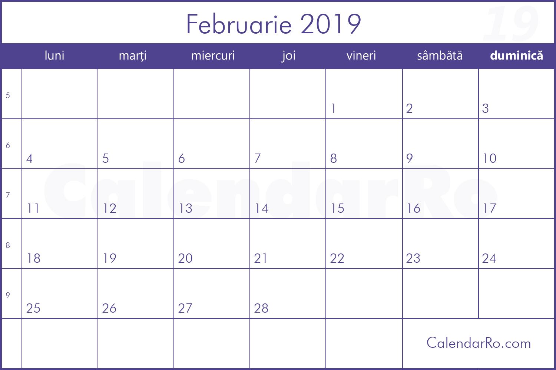Calendar Februarie 2019