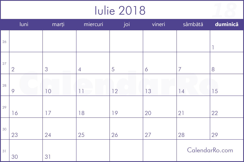 calendar iulie 2018