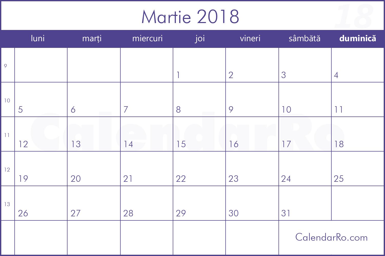 Calendar Martie 2018